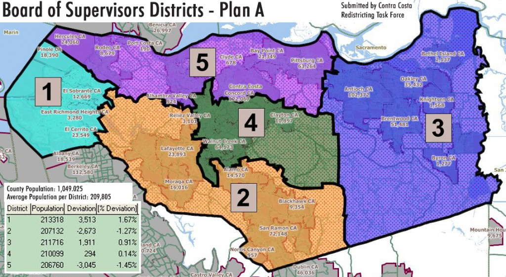 CCRTF CCCBOS Plan A with pop s 1024x561 Proposed New Board of Supervisors District Maps Released