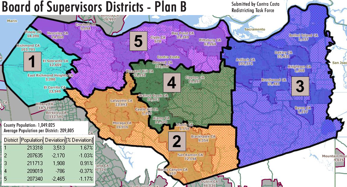 CCRTF CCCBOS Plan B with pop s Proposed New Board of Supervisors District Maps Released