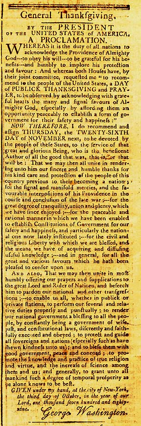 Washingtons Thanksgiving Proclamation in Mass Centinel 1789 Where Did Thanksgiving Come From and Why Do We Celebrate It?