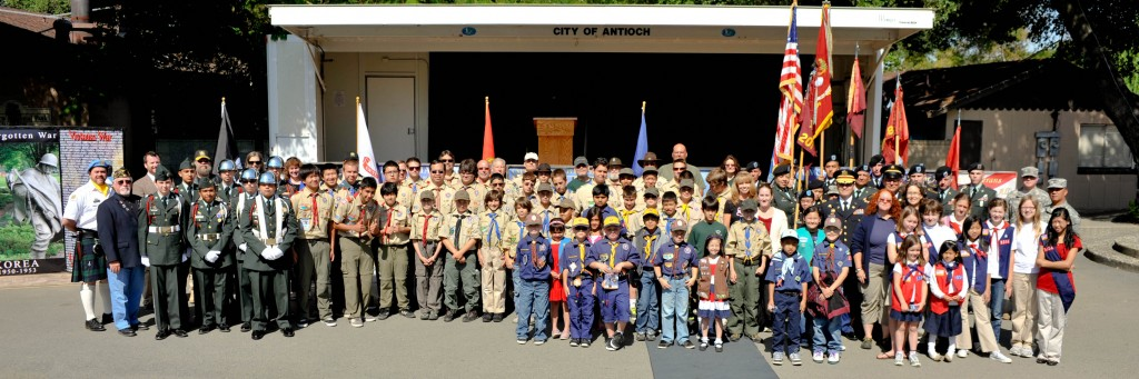 Military and Scouts 1024x341 Hundreds Attend Antioch Memorial Day Ceremony