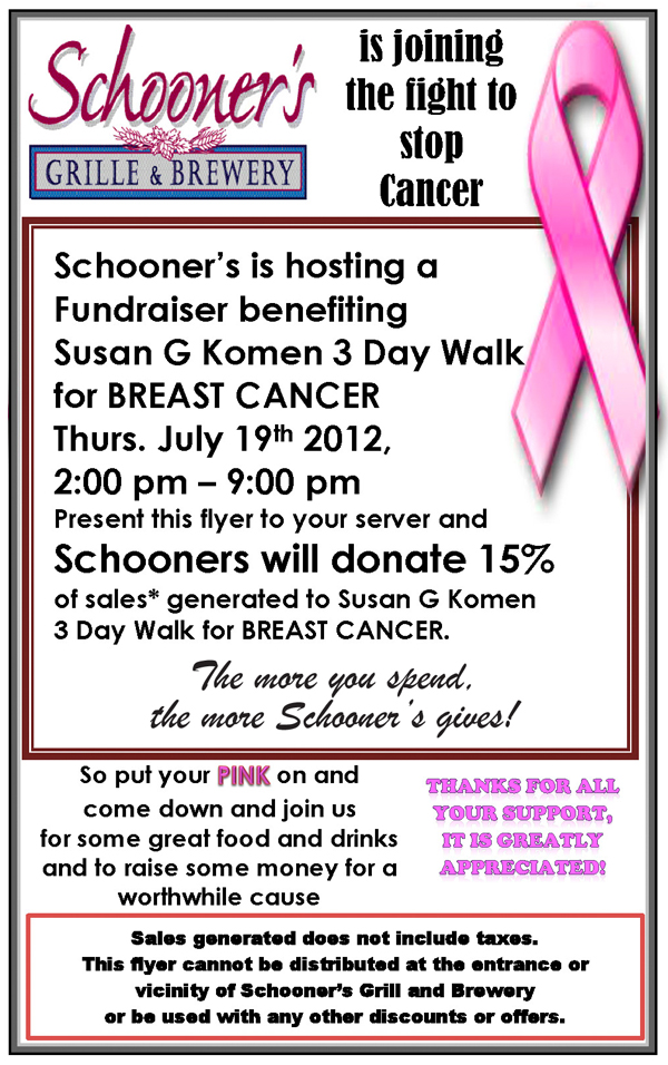 Cancer awareness Schooners to Host Fundraiser to Fight Breast Cancer July 19