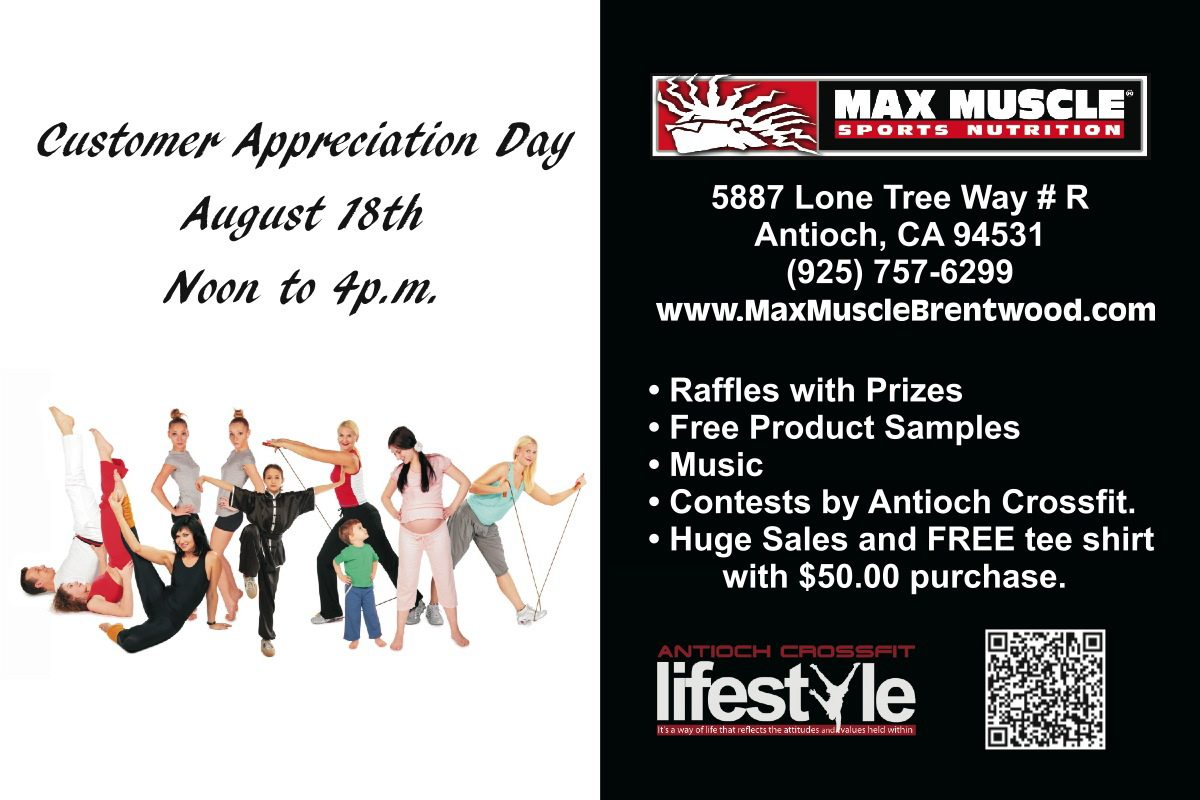 Max Muscle to Celebrate Customer Appreciation Day August 18