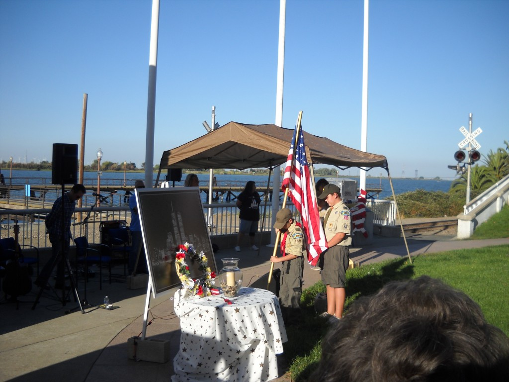 Boy Scouts place the American flag 1024x768 Antioch Residents, Officials Gather to Remember 9 11