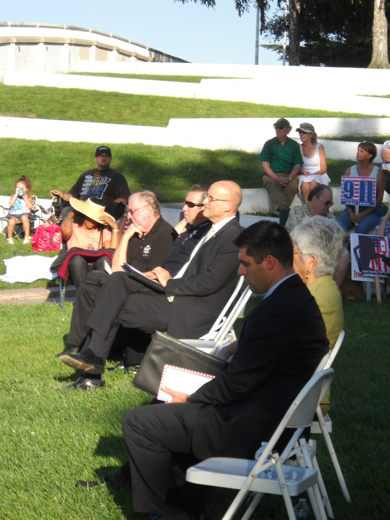 Councilmembers officials listen to Mayor Davis 768x1024 Antioch Residents, Officials Gather to Remember 9 11