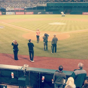Jessica Caylyn sings the National Anthem at the A's playoff game on Thursday night, October 11, 2012.