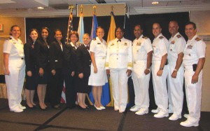 Cyndi Soraoka, (third from right) with others from the internship in the Office of the U.S. Surgeon General Regina Benjamin, MD (in dress uniform, fifth from right).