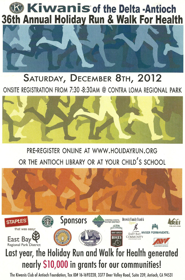 Holiday Run 12 12 Kiwanis present Antiochs 36th Annual Holiday Run and Walk for Health next Saturday, December 8