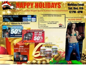 Max Muscle Holiday Event flyer