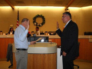 New Antioch City Clerk Arne Simonsen administers the Oath of Office to Tony Tiscareno, following his appointment by the City Council to fill Mayor Harpers unexpired term on Tuesday, December 18, 2012.