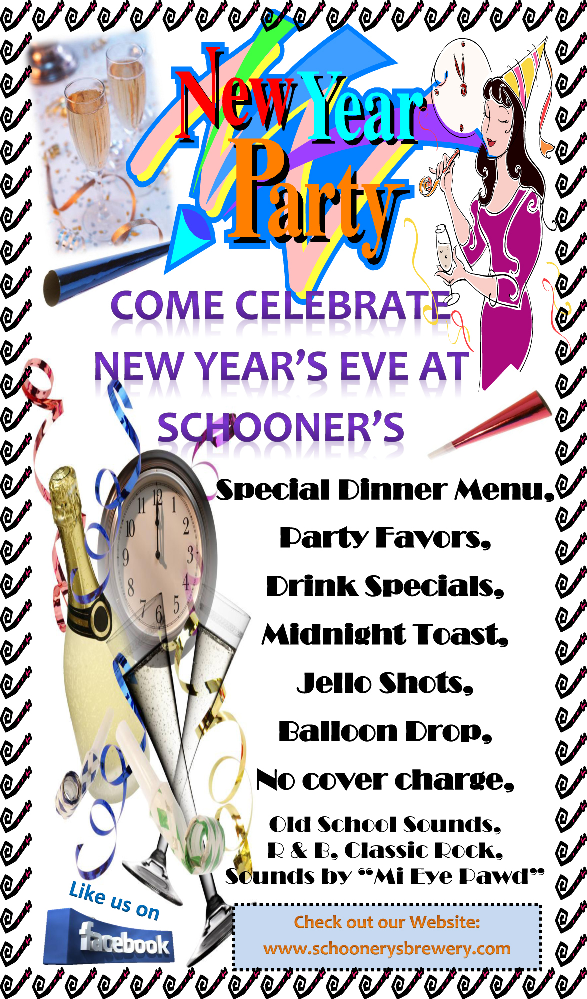new years 2011 lobby flyer Celebrate New Years Eve at Schooners in Antioch