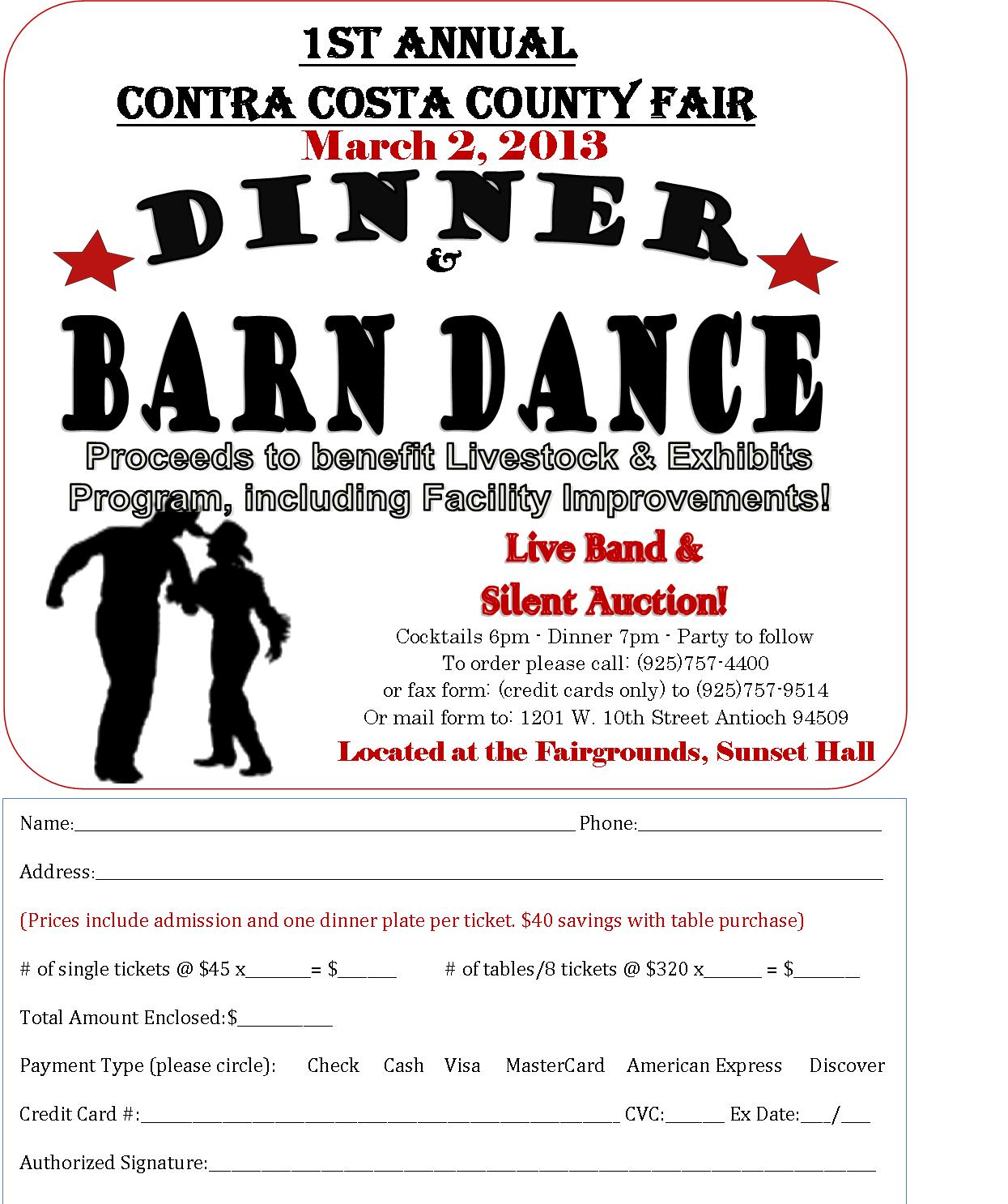 Barn Dance Order Form Dinner and Barn Dance benefit at County Fairgrounds Saturday