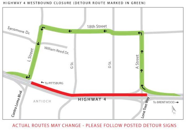 SR 4 FULL CLOSURE Feb 26 Mar 1 2013 West All lanes of Highway 4 to close for night construction this week