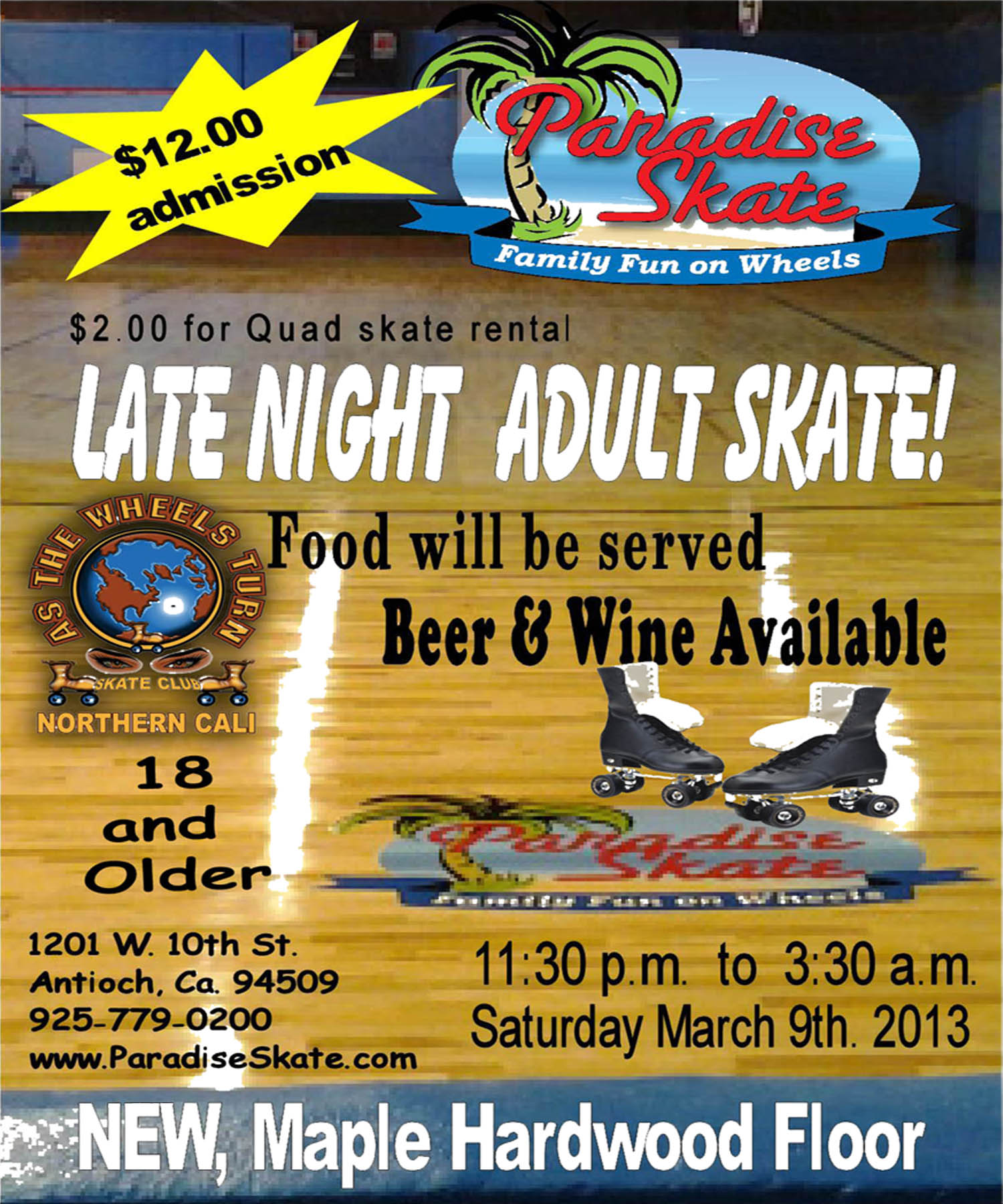 March9thParadiseSkate Late Night Adult Skate Night at Paradise Skate Roller Rink this Saturday