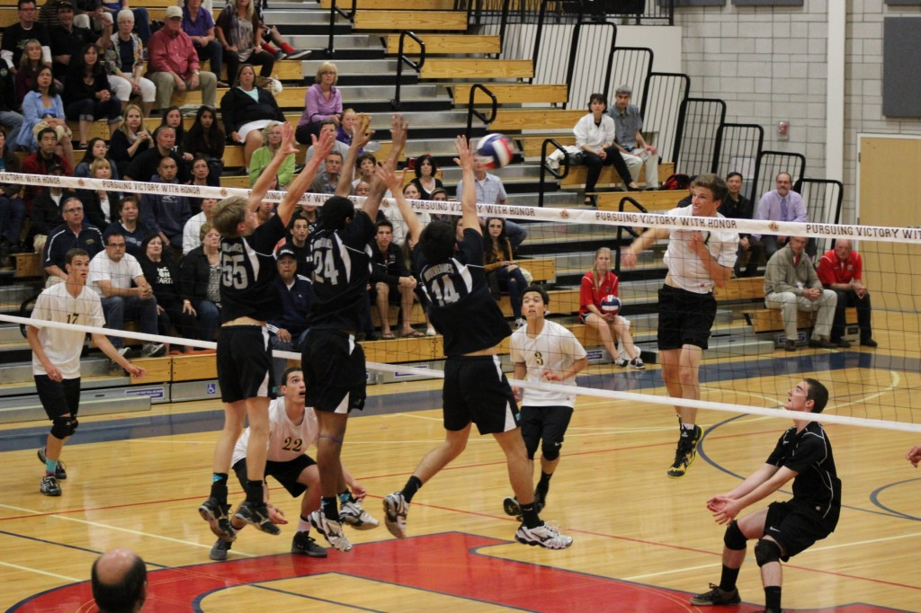 DV goes up for the block 1024x682 DV boys volleyball team falls one win shy of NorCal throne