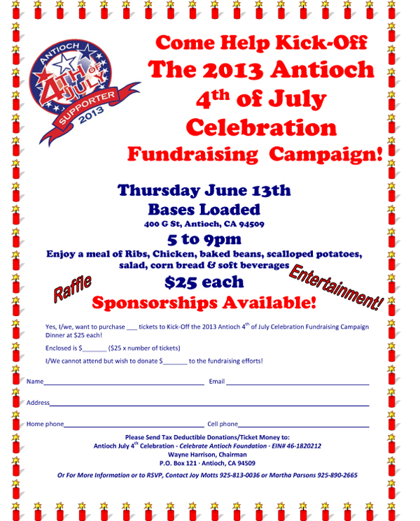 July 4th Kickoff Fundraiser flyer