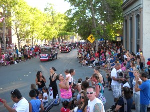 Crowds line 2nd Street for Antioch's 2013 July 4th parade.