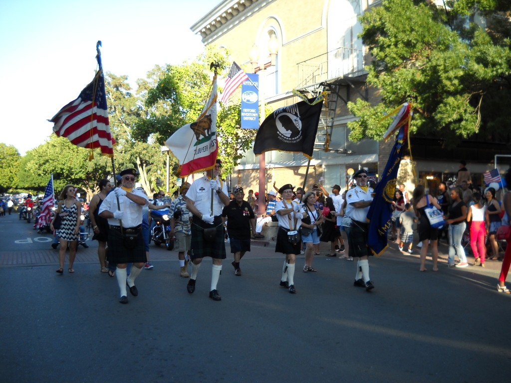 VFW color guard leads off Antioch's 2013 July 4th parade on 2nd Street.