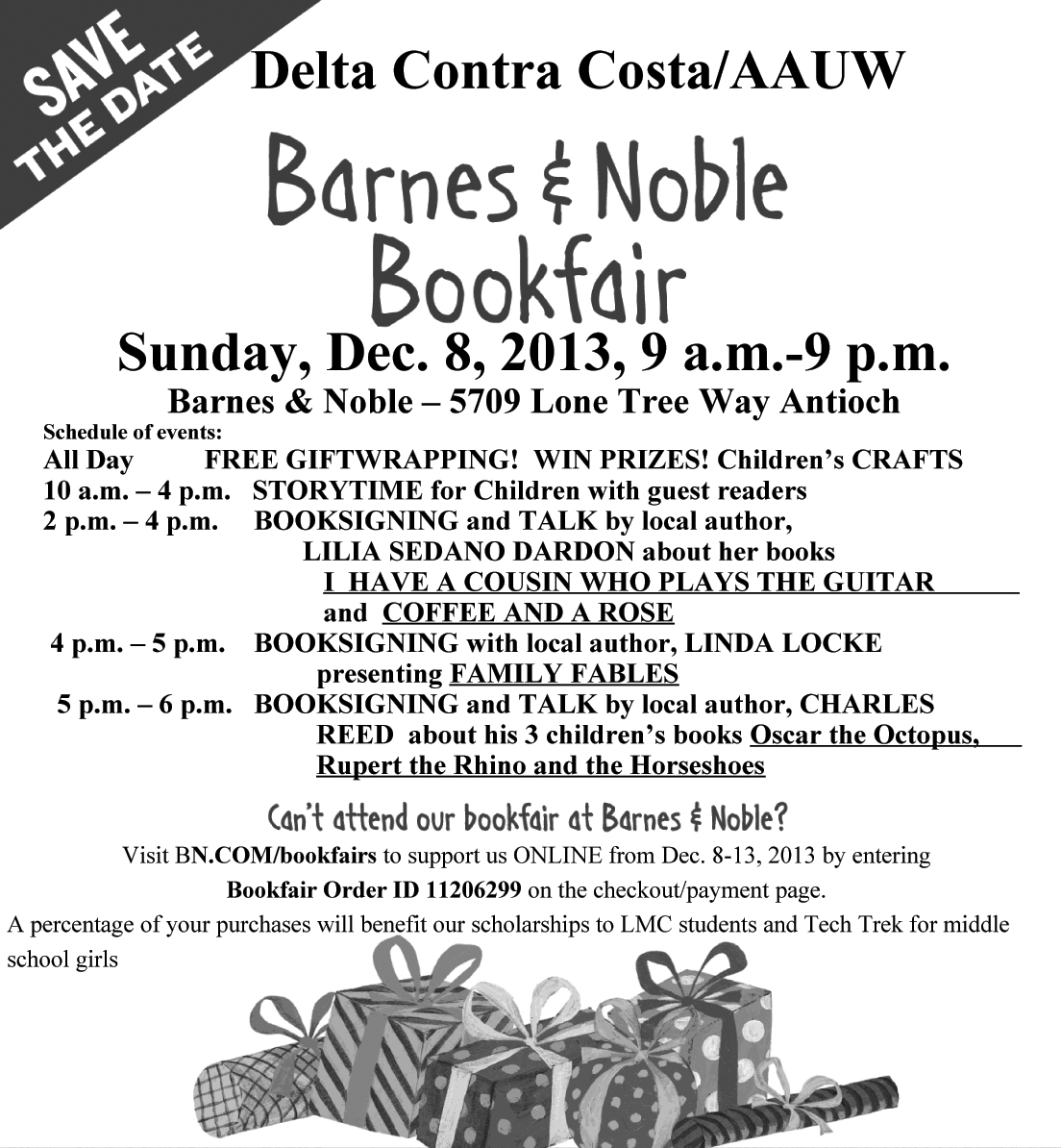 BookFairflyer2013 Book Fair at Barnes & Noble on Sunday to benefit local college and middle school students