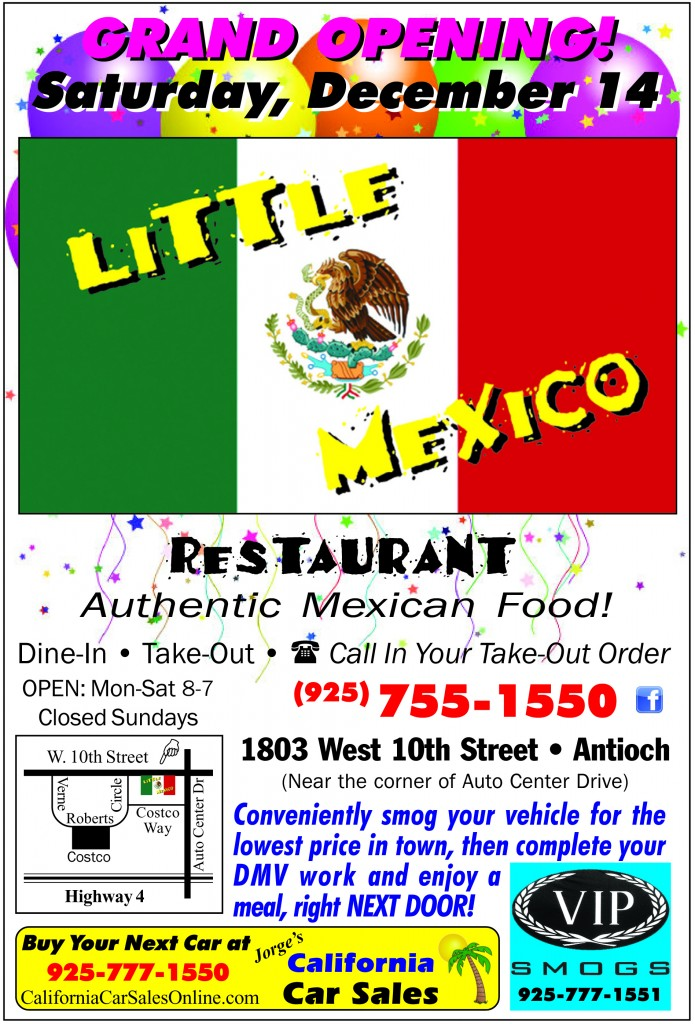 Little Mexico 12 13 IFC PennySaver ad Final 695x1024 Antiochs new Little Mexico Restaurant to hold Grand Opening Saturday