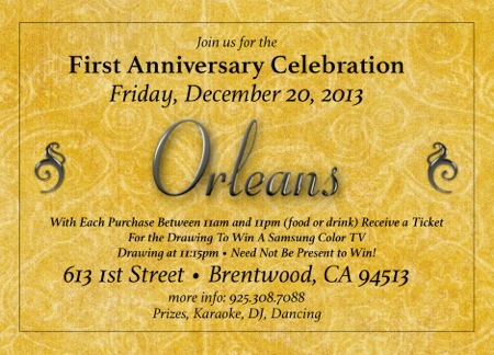 Orleans restaurant to celebrate first anniversary on Friday, Dec. 20