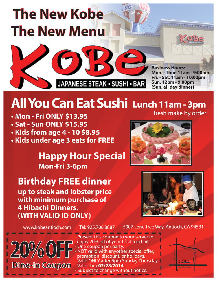 Kobe new promo web ad Kobe announces new specials for February