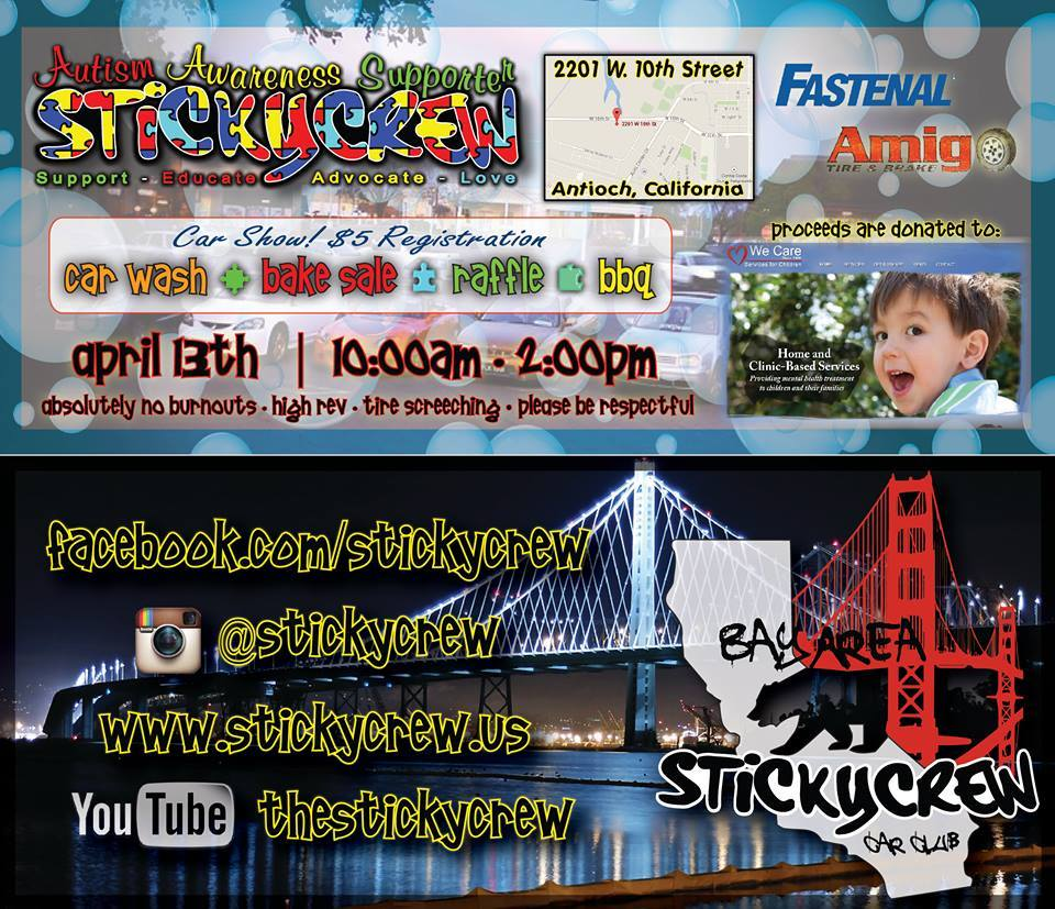 Autism Fundraiser FINAL flyer StickyCrew Car Club to hold autism awareness fundraiser in Antioch, Sunday