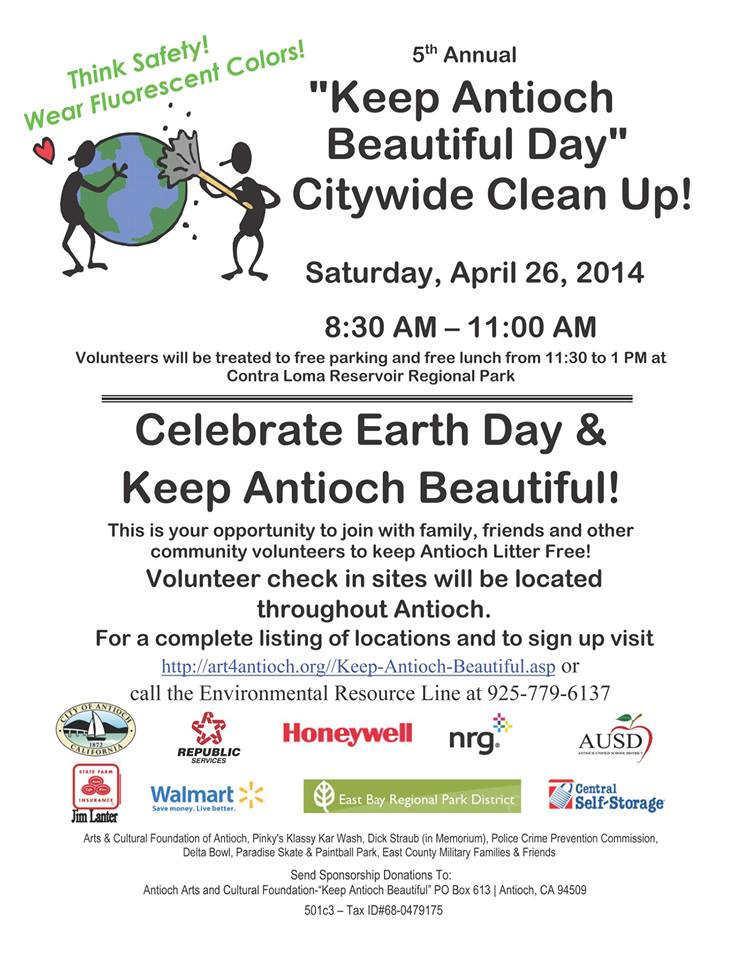 Keep Antioch Beautiful Earth Day 2014 5th Annual Keep Antioch Beautiful Day citywide clean up this Saturday