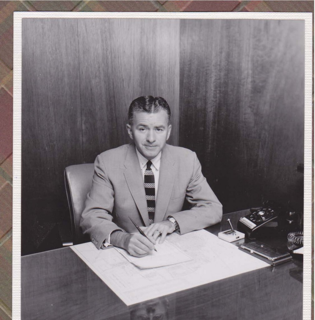 Ralph Garrow, Sr. at his desk.