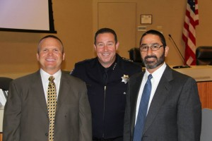 Chief Allan Cantando with retiring Sergeants Mitch Schwitters and Robert Quintero. photo courtesy of Antioch Police Department