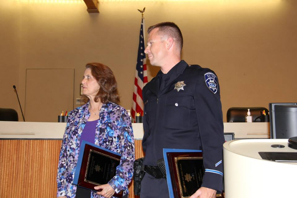 Antioch Police Department Civilian Employee of the Year Virginia Johnson and Officer of the Year James Colley.