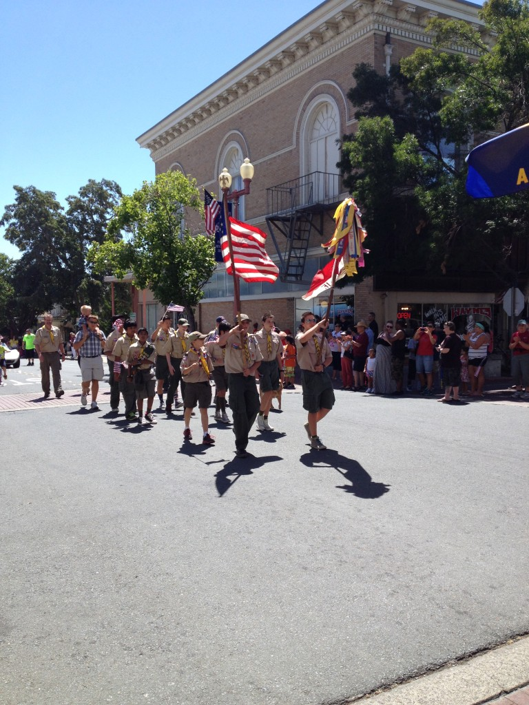 Boy Scouts color guard.