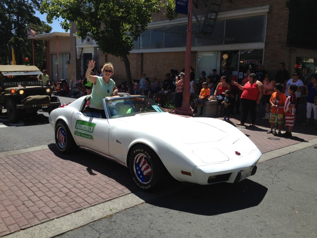 Antioch City Council candidate Lori Ogorchock campaigns in a Corvette.