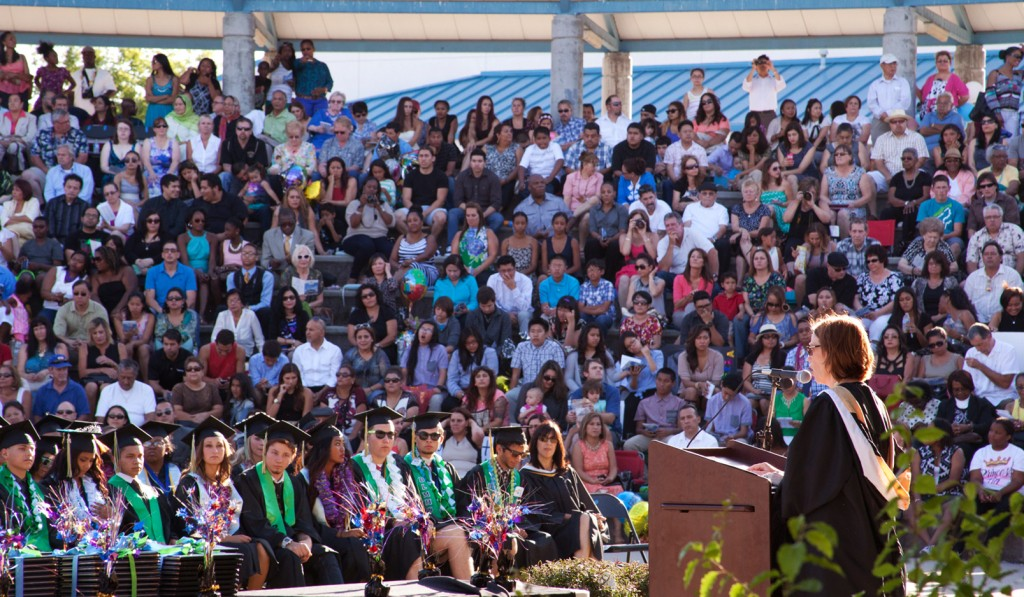 Dozier-Libbey Principal Nancie Castro speaks at this year's graduation