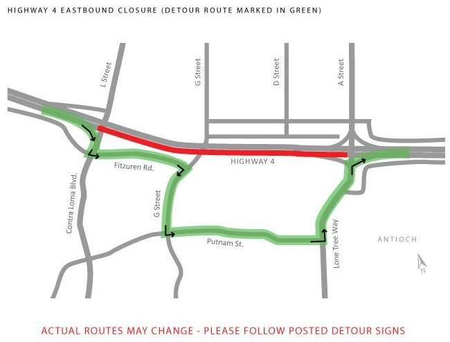 Hwy 4 detour map Highway 4 closures in Antioch area Thursday through Saturday