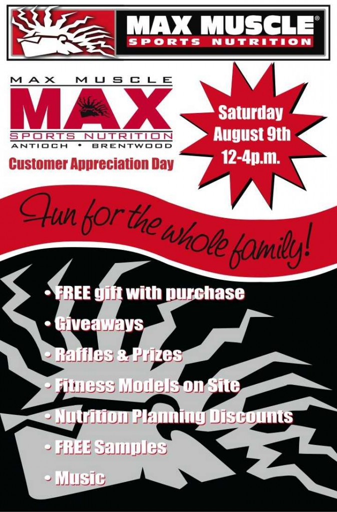 MaxMuscle Customer Appreciation Day 2014 675x1024 Max Muscle to hold annual Customer Appreciation Day Saturday