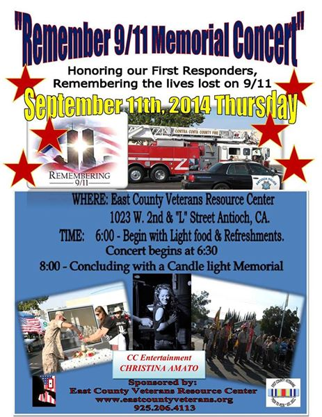 9 11 Memorial Concert Remember 9/11 Memorial Concert in downtown Antioch Thursday evening