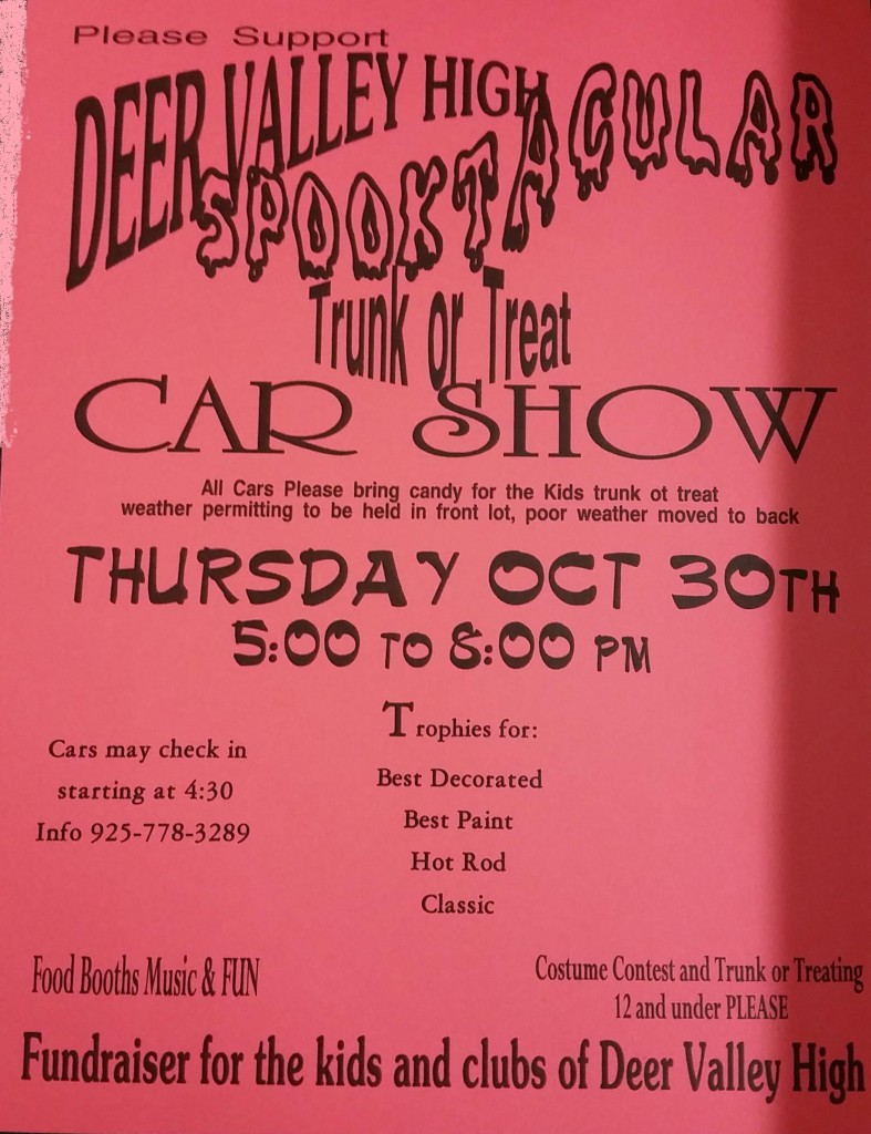 DVHS Spooktacular Trunk or Treat 787x1024 Deer Valley High to host Spooktacular Trunk or Treat Car Show fundraiser Thursday