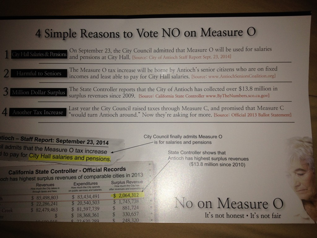 No on O mailer 3 1024x768 Latest No on O campaign mailer reveals how the Antioch City Council will spend the measures funds
