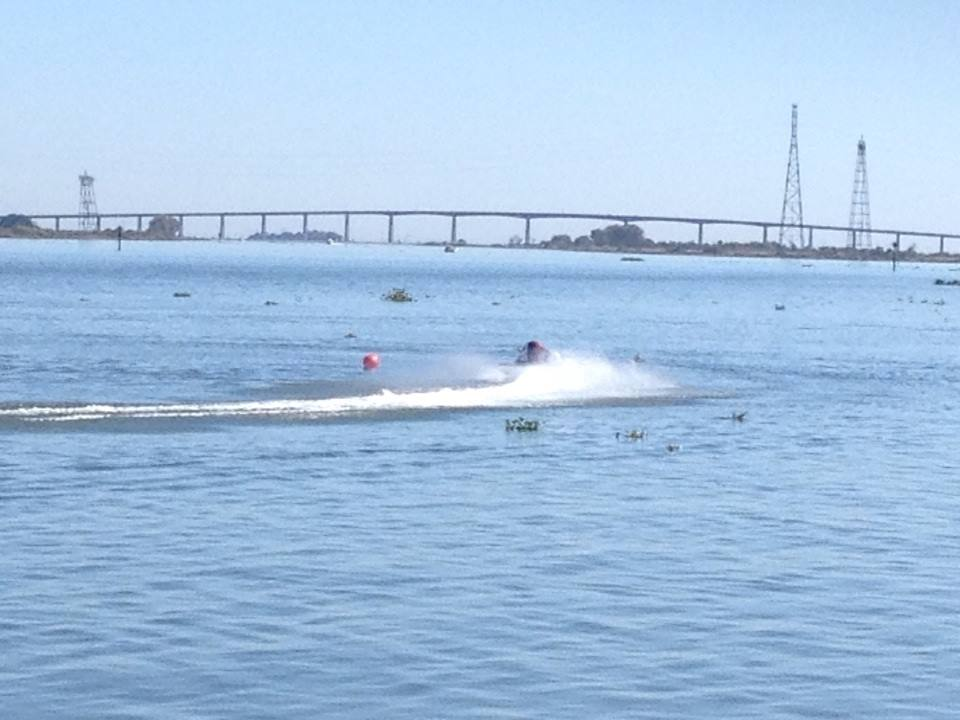 SST 45 takes turn bridge in background Residents enjoy Delta Thunder speed boat races on Antioch waterfront