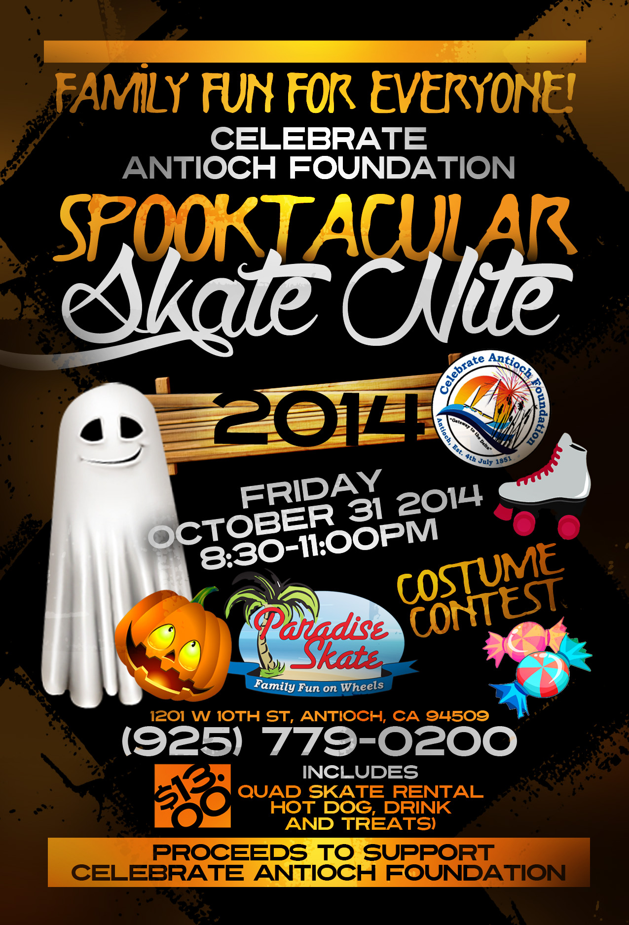 Spooktacular 2014 Velma Wilson Spooktacular Skate Night on Halloween to benefit Celebrate Antioch Foundation