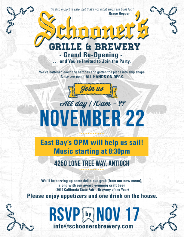 grandReopening flyer lettersize Schooners to hold Grand Reopening on Saturday, November 22