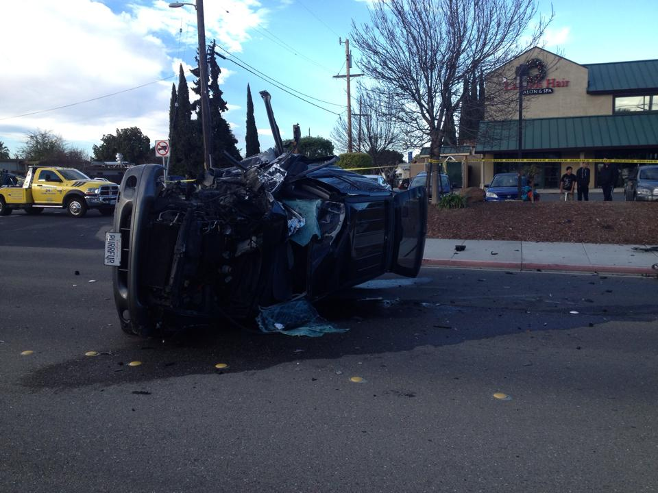 The car struck the utility pole between Amber Drive and Alhambra Drive.