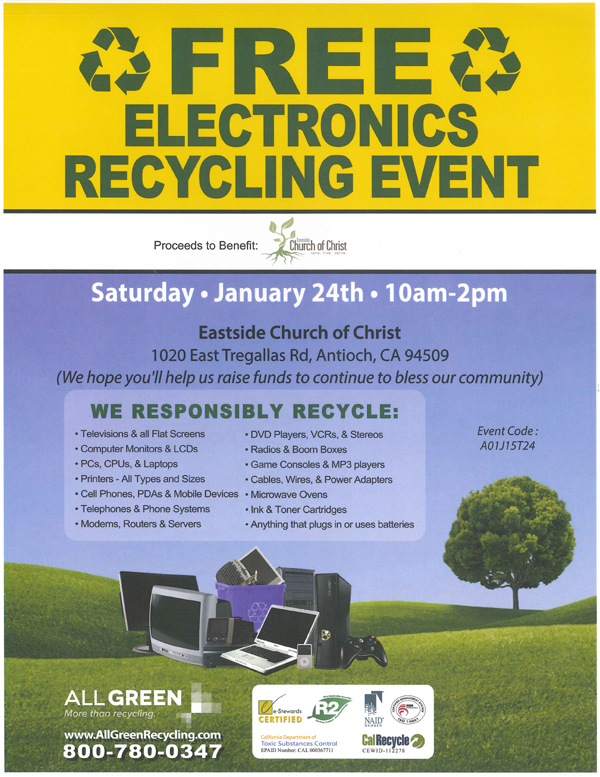 Electronics Recycling Event Free electronics recycling event in Antioch, Saturday