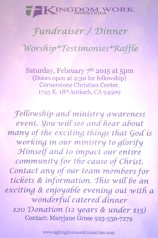 Kingdom Work Dinner Antioch based Christian evangelism ministry to hold fundraiser February 7