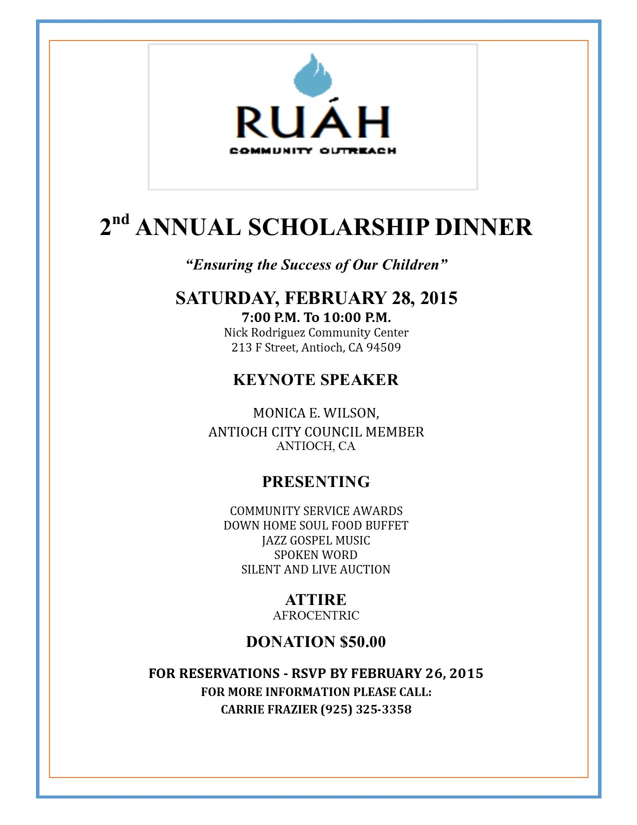 RUAH Tickets still available for RUAH Community Outreach fundraiser in Antioch Feb. 28