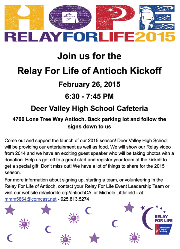 Relay for Life 2015 Kickoff Flyer
