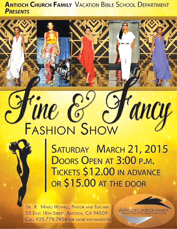 Antioch Church Family Fundraiser Flyer Church fashion show to support Vacation Bible School, this Saturday