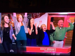 Ashleys mom dad and friends watch her perform on The Voice from the viewing room 300x225 Antiochs Ashley Morgan advances on The Voice, family, friends watch with excitement