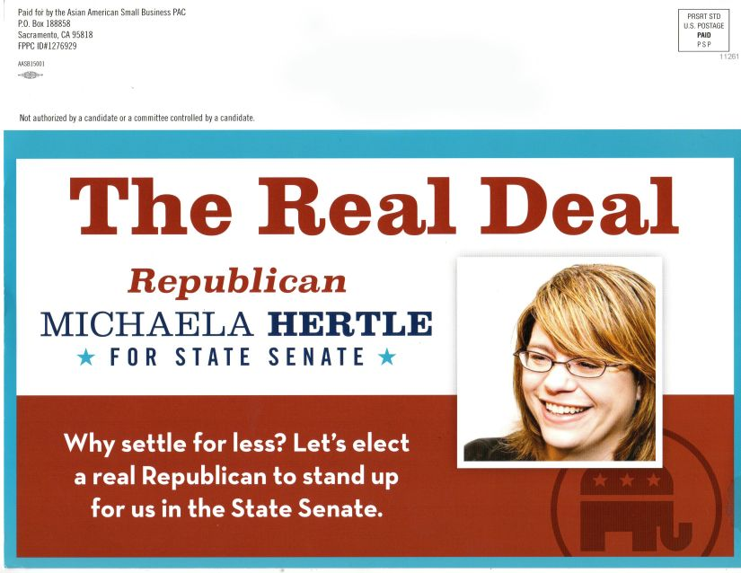 Asian American Small Biz PAC Hertle mailer Political hard ball being played to defeat Glazer in special State Senate race