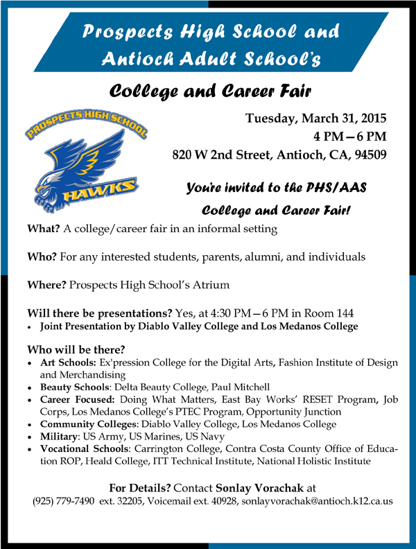 College Career Night Flyer 2015 College Career Night March 31 at Prospects High School in downtown Antioch